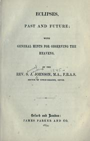 Cover of: Eclipses, past and future | Samuel Jenkins Johnson