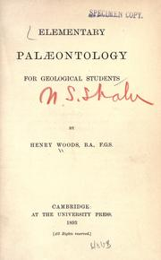 Cover of: Elementary palæontology for geological students
