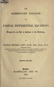 Cover of: An elementary treatise on partial differential equations, designed for the use of students in the university