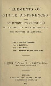 Cover of: Elements of finite differences