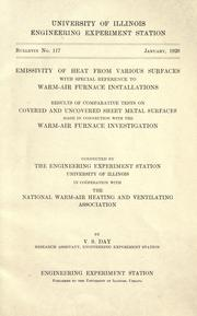 Cover of: Emmissivity of heat from various surfaces with special reference to warm-air furnace installations | Vincent S. Day