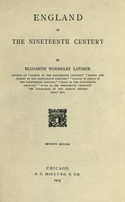 Cover of: England in the nineteenth century | Elizabeth Wormeley Latimer