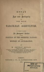 Cover of: An essay on the age and antiquity of the Book of Nabathaean agriculture