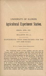 Cover of: Experiments with insecticides for the San Jose scale | Stephen Alfred Forbes