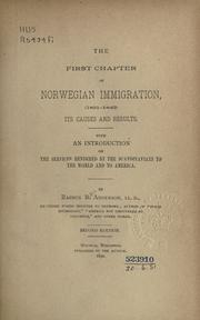 Cover of: The first chapter of Norwegian immigration