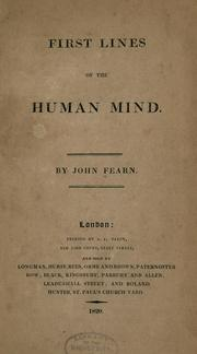 Cover of: First lines of the human mind | John Fearn