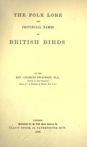 Cover of: The folk lore and provincial names of British birds