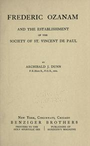 Cover of: Frederic Ozanam and the establishment of the Society of St. Vincent de Paul