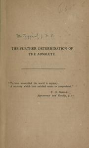Cover of: The further determination of the Absolute