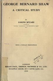 Cover of: George Bernard Shaw | Joseph McCabe