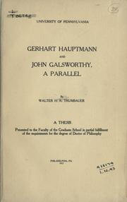 Cover of: Gerhart Hauptmann and John Galsworthy | Walter H. R. Trumbauer