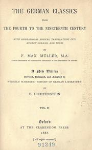 Cover of: The German classics from the fourth to the nineteenth century