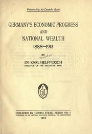 Cover of: Germany's economic progress and national wealth, 1888-1913
