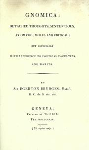 Cover of: Gnomica | Brydges, Egerton Sir