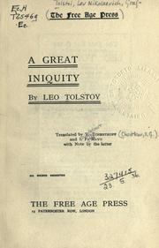 Cover of: A great iniquity