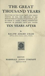 Cover of: Great thousand years | Ralph Adams Cram