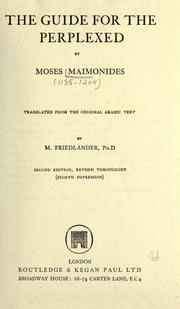 Cover of: The guide for the perplexed | Moses Maimonides