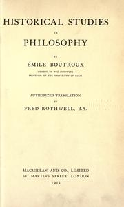 Cover of: Historical studies in philosophy