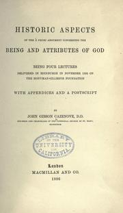Cover of: Historic aspects of the à priori argument concerning the being and attributes of God