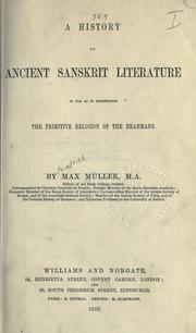 Cover of: History of ancient Sanskrit literature