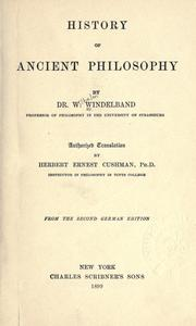 Cover of: History of ancient philosophy | W. Windelband
