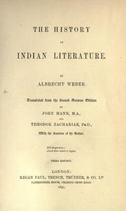 Cover of: The history of Indian literature