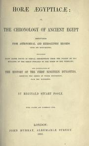 Cover of: Horæ ægyptacæ: or, The chronology of ancient Egypt