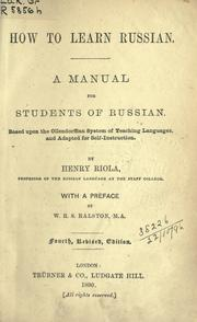 Cover of: How to learn Russian | Henry Riola
