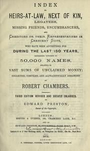 Cover of: Index to heirs at law, next of kin, legates and creditors or their representatives in Chancert suits | Robert Chambers