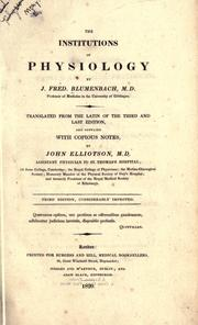 Cover of: Institutiones physiologicae