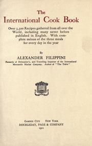 Cover of: international cook book | Alexander Filippini