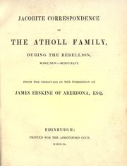 Cover of: Jacobite correspondence of the Atholl family |