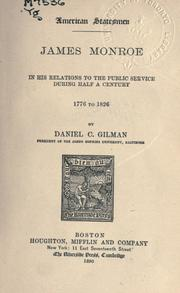 Cover of: James Monroe in his relations to the public service