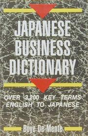 Cover of: Japanese Business Dictionary | Boye Lafayette De Mente