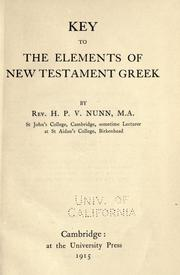 Cover of: Key to The elements of New Testament Greek