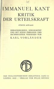 Cover of: Kritik der Urteilskraft. by Immanuel Kant