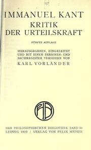 Cover of: Kritik der Urteilskraft. by Immanuel Kant