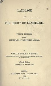 Language and the study of language by William Dwight Whitney
