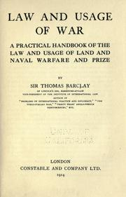 Cover of: Law and usage of war