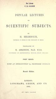 Cover of: Popular lectures on scientific subjects | Hermann von Helmholtz