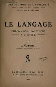 Cover of: Le langage