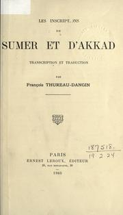 Cover of: Les inscriptions de Sumer et d'Akkad