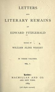 Cover of: Letters & literary remains