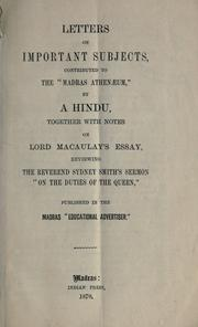 Cover of: Letters on important subjects, contributed to the Madras Athenaeum |