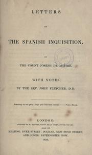 Cover of: Letters on the Spanish Inquisition | Maistre, Joseph Marie comte de
