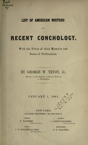 Cover of: List of American writers on recent conchology. | George Washington Tryon