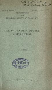 Cover of: A list of the generic and family names of rodents