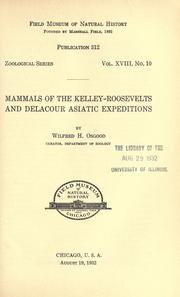 Mammals of the Kelley-Roosevelts and Delacour Asiatic expedition