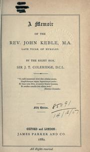 Cover of: A memoir of the Rev. John Keble