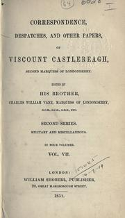 Cover of: Memoirs and correspondence of Viscount Castlereagh, second marquess of Londonderry